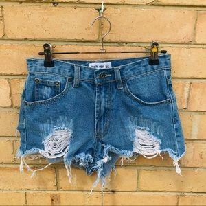 TIGER MIST size XS Distressed Blue Denim Jean Shorts Casual Beach
